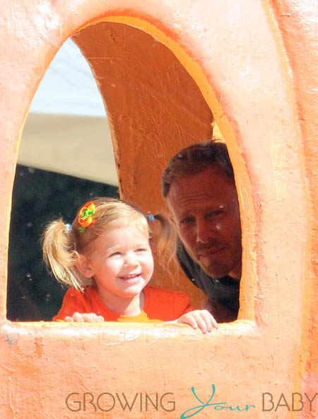 Ian Ziering with daughter Mia at Mr. Bones Pumpkin Patch