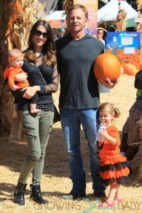 Ian and Erin Ziering visit the pumpkin patch with their daughter Mia and Penna