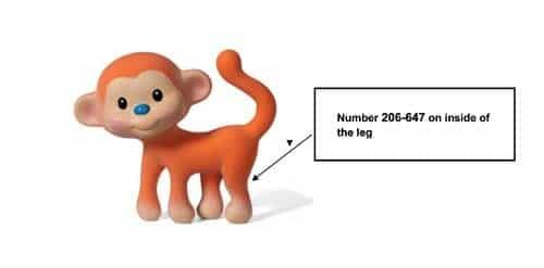 Image of recalled Go Gaga Squeeze & Teethe Coco the Monkey