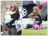 Isla Fisher at a birthday party with daughters Elula and Olive Cohen