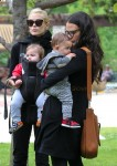 Jaime King and Jordana Brewster at the park with their kids James and Julian