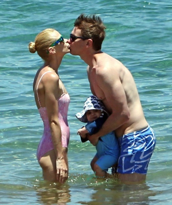 Jaime King and Kyle Newman with son James at the beach in Maui