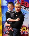 Jaime Pressly with son Dezi at the premiere of the LEGO Movie