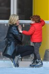 Jane Krakowski seen ice skating with her son Bennett in Meatpacking District, New York City