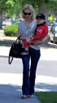 January Jones out for lunch with son Xander