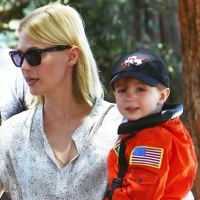 January Jones Steps Out With Her Little Astronaut