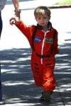 January Jones son Xander out in LA wearing an Aeromax Astronaut suit