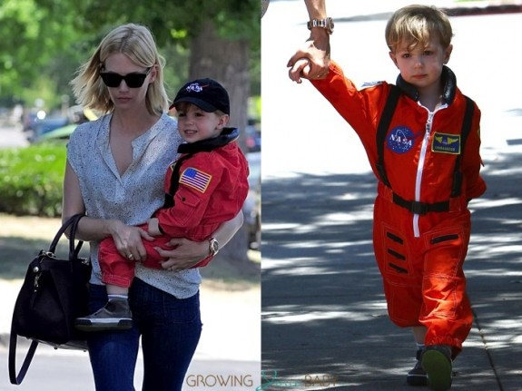 January Jones steps out for lunch with son Xander