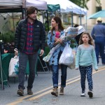 Jason Bateman at the market with wife Amanda and kids Francesca and Maple