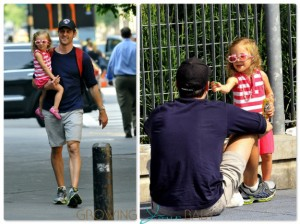 Jason Hoppy at the park in NYC with daughter Bryn