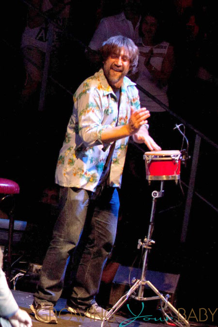 Javier Bardem playing the bongos during show the Asier Etxeandia Concert at Price Circus Theatre in Madrid