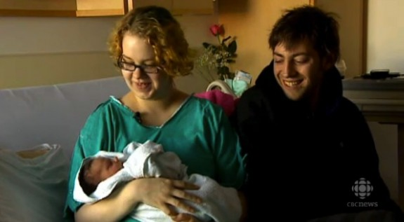 Jay Goleski and Aimee Renard with baby Jaxyn