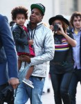 Jay Z and Beyonce with daughter Blue Ivy out in Paris