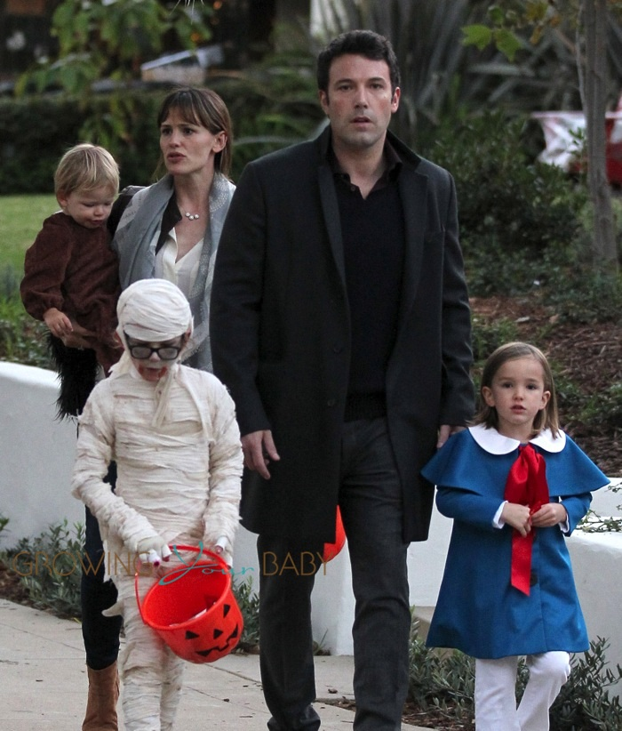 Jennifer Garner and Ben Affleck out for Halloween with their kids Sam, Seraphina and Violet