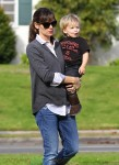 Jennifer Garner and her son Samuel at the horseriding