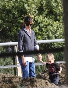 Jennifer Garner and her son Samuel at the horseriding ranch
