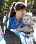 Jennifer Garner and her son Samuel ride the cow train at the pumpkin patch