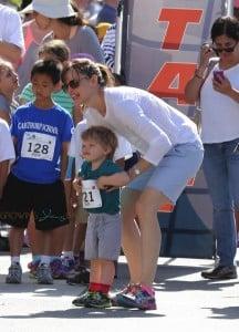 "Jennifer Garner and son Samuel Affleck at the 2nd annual ""Home Run For Kids"" race"