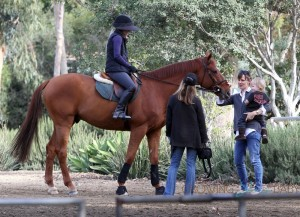 Jennifer Garner & her son Samuel at the horseriding ranch