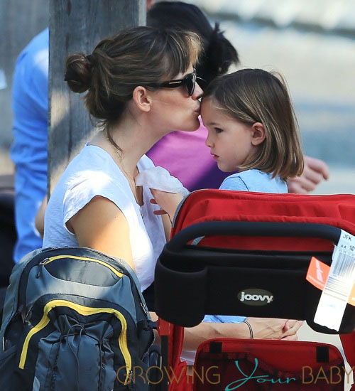 Jennifer Garner takes her kids Violet, Seraphina and Samuel to climb the rocks and play on the swings in Central Park