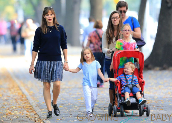 Jennifer Garner takes her kids Violet, Seraphina, and Samuel to Central Park to get popsicles, pick leaves off trees, and enjoy the sunny weather