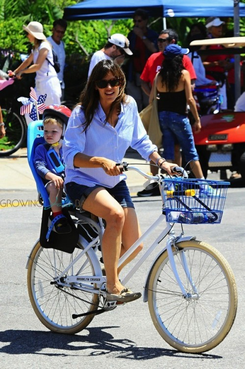 Jennifer Garner with son Sam at 4th of July Parade in Pacific Palisades CA