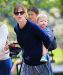 Jennifer Garner takes Samuel on a piggy back ride in Central Park in NYC