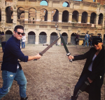 Jennifer Lopez and Casper Smart at the Colosseum in Rome