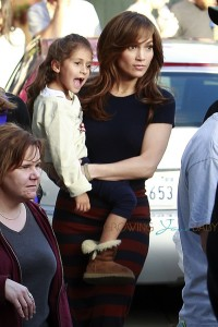 Jennifer Lopez and Emme Anthony on the set of  'The Boy Next Door' in Los Angeles