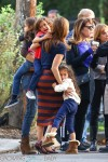 Jennifer Lopez with twins Max and Emme Anthony on the set of  'The Boy Next Door' in Los Angeles