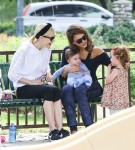 Jessica Alba and Jaime King with kids Haven and James at the park in LA