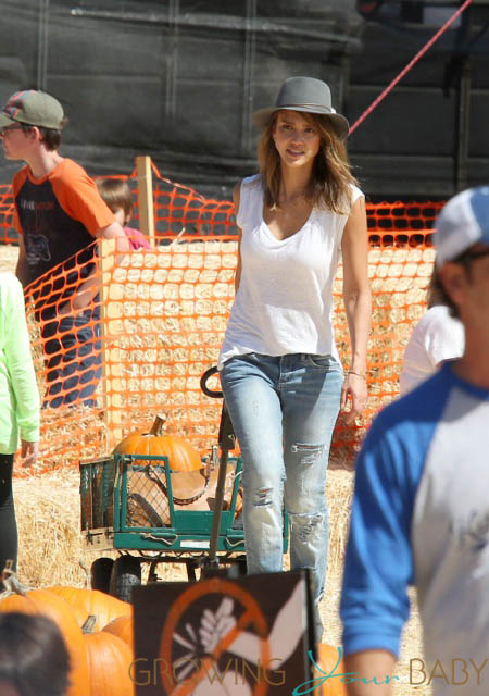 Jessica Alba grabs some pumpkins at Mr. Bones Pumpkin Patch