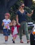 Jessica Alba visits the park with her daughters Haven and Honor
