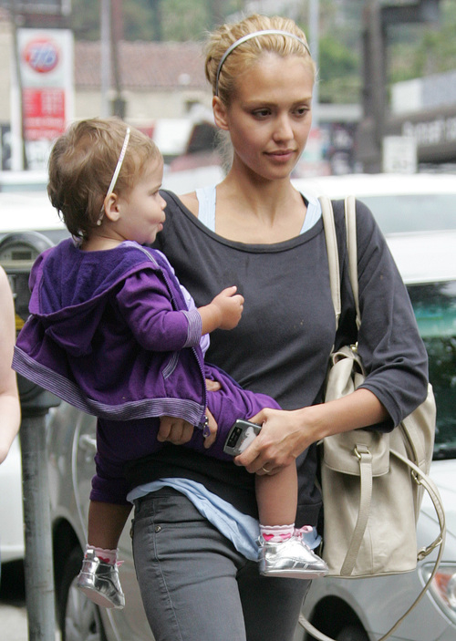 Jessica Alba with daughter Honor Timi leslie Charlie bag