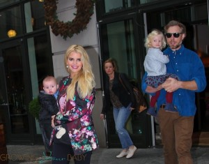 Jessica Simpson and Eric Johnson leave their NYC hotel with kids Ace and Maxwell