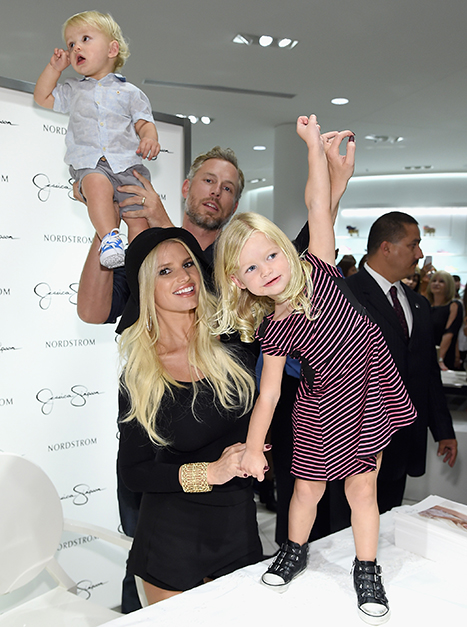 Jessica Simpson and Eric Johnson with Ace and Maxwell at Nordstrom fashion show launch