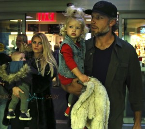 Jessica Simpson and Eric Johnson  with kids Maxwell and Ace in Boston