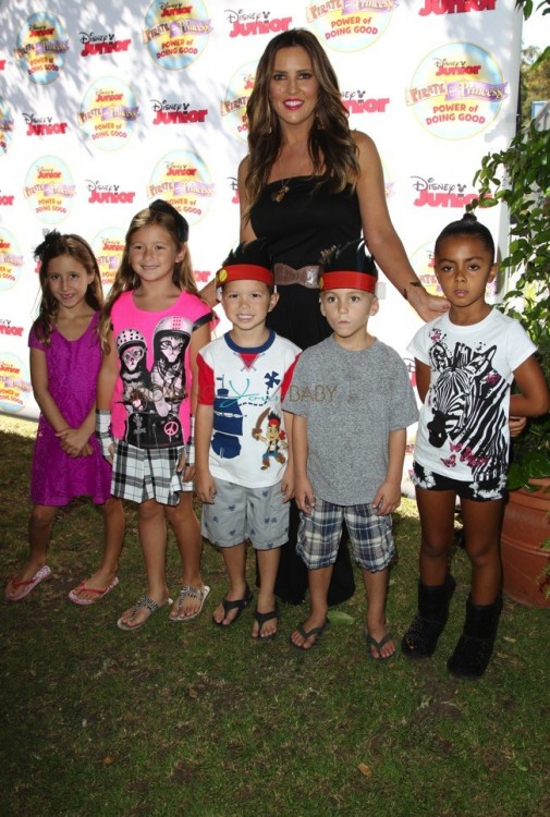 """Jillian Barberie with kids Ruby and Rocco at Disney Junior's """"Pirate and Princess Power of Doing Good"""" tour"""