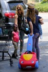 Jillian Michaels & Partner Heidi Rhoades Take Their Children Out For Lunch