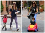 Jillian Michaels and Heidi Rhoades out in LA with their kids Phoenix and Lukensia