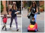 Jillian Michaels and Heidi Rhoades out in LA with their kids Phoenix and Lukensia