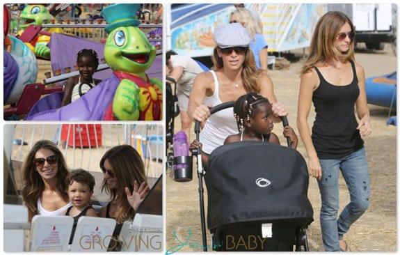 Jillian Michaels and Heidi Rhoades with kids Lukensia and Phoenix and Malibu Cookoff