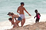 Jillian Michaels and Heidi Rhoades with kids Lukensia and Phoenix at the beach in Miami