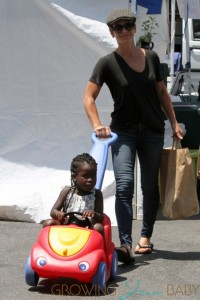 Jillian Michaels and her family at the farmers market in Malibu