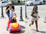 Jillian Michaels plays with her son Phoenix and daughter Lukensia