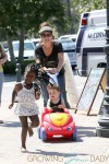 **EXCLUSIVE**Jillian Michaels chases her daughter Lukensia with son Phoenix in a toy car in Malibu. Also in tow was Jillian's partner Heidi Rhoades and mom JoAnn