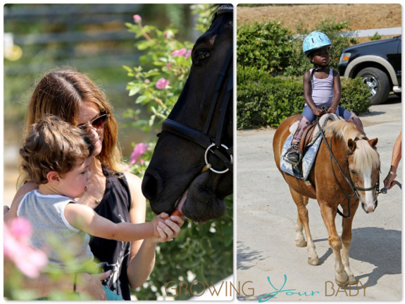 Jillian Michaels visits a ranch in Santa Barbara with her kids