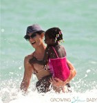 Jillian Michaels with daughter Lukensia at the beach in Miami
