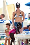 Jillian Michaels with kids Lukensia and Phoenix at the beach in Miami