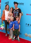Joe McIntyre with wife Barrett and kids Rhys, Griffin and Kira at At Boxtrolls Premiere